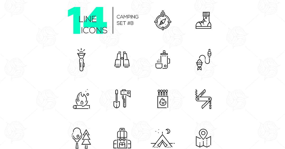 Download Camping and Hiking - line icons set by BoykoPictures