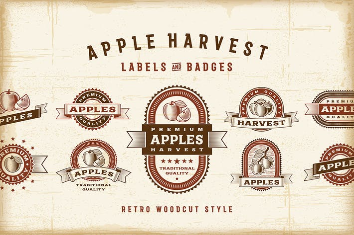 Thumbnail for Vintage Apple Labels Set