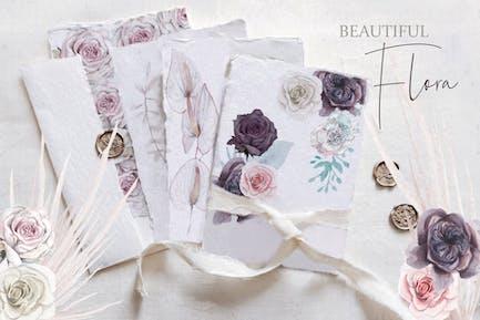 Beautiful watercolor flora set