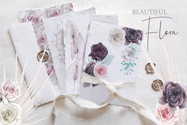 Thumbnail for Beautiful watercolor flora set