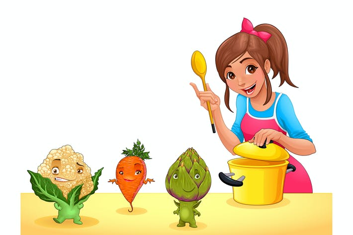 Thumbnail for Girl is Cooking with Three Funny Vegetables
