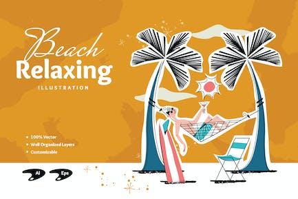 Ilustración relajante de playa