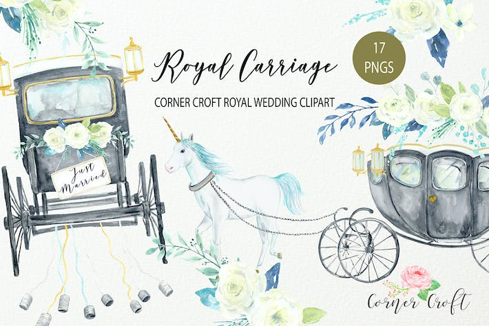 Thumbnail for Watercolor Royal Wedding Carriage Clipart