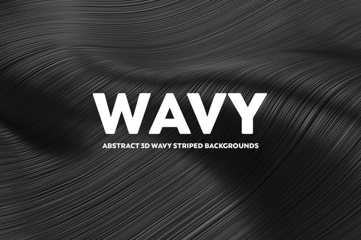 Abstract 3D Wavy Striped Backgrounds - Black Color