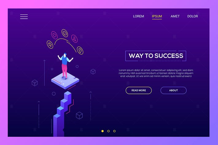 Thumbnail for Way to success - modern isometric website header