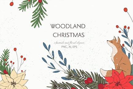 Woodland Christmas animals clipart