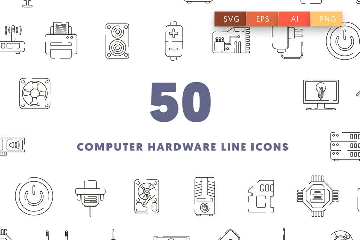 Thumbnail for Computer Hardware Line Icons