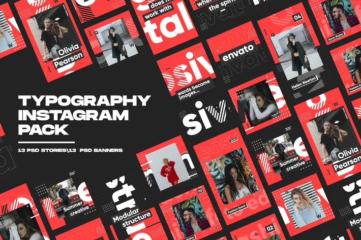 Thumbnail for Typografie Instagram Pack
