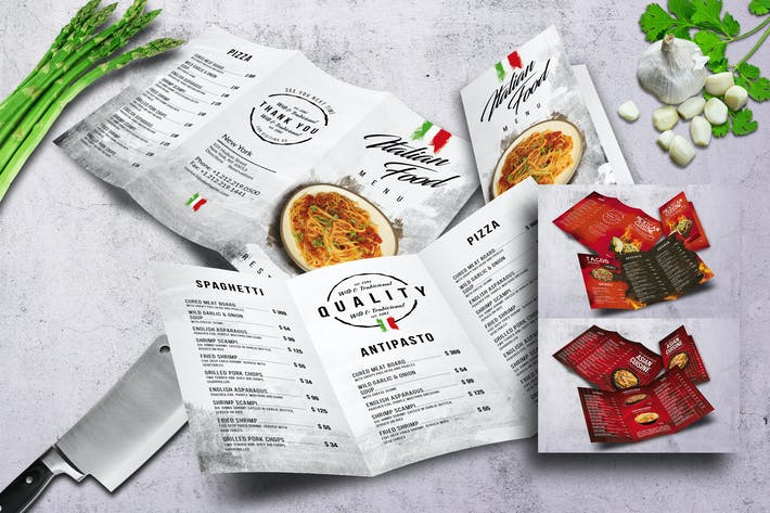 Thumbnail for Different Cuisines Trifold Menu Bundle