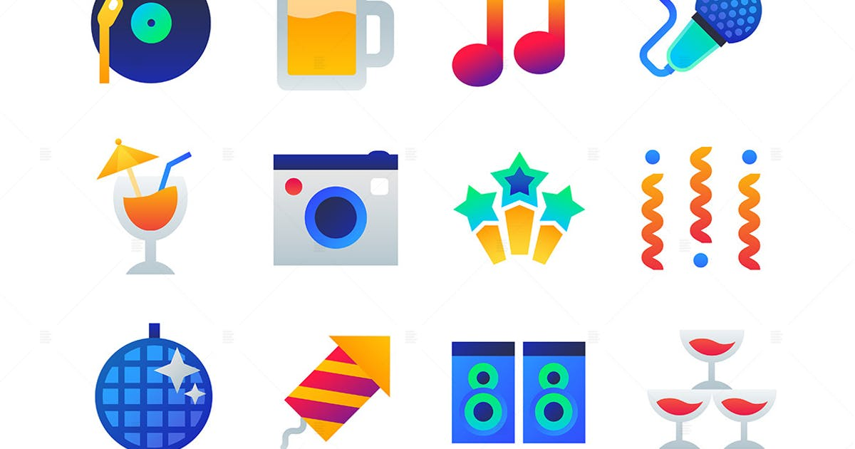Download Party - set of flat design style icons by BoykoPictures