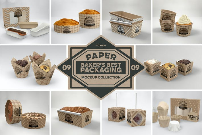 Cover Image For Paper Food Packaging Mockups Vol.9