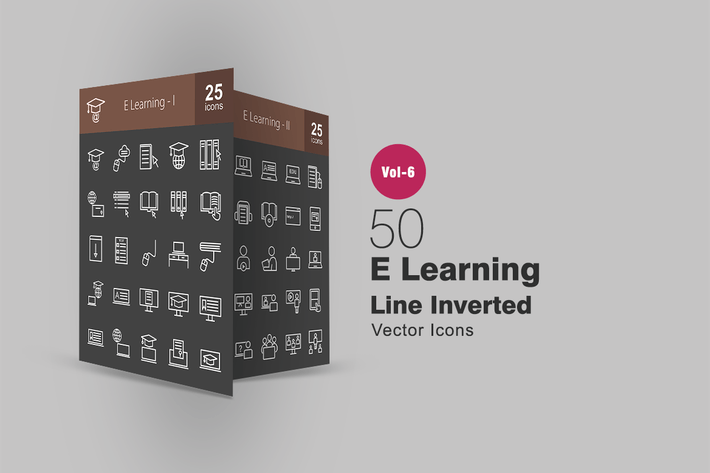 Thumbnail for 50 E Learning Line Inverted Icons