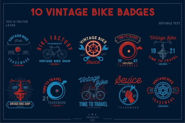 Thumbnail for 10 Vintage Bike Badges