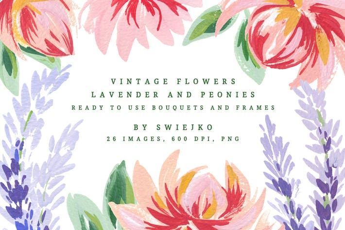 Thumbnail for Vintage Flowers, Lavender and Peonies