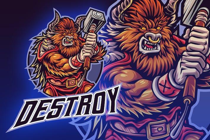Thumbnail for Minotaur Bull Character Esport Mascot Logo