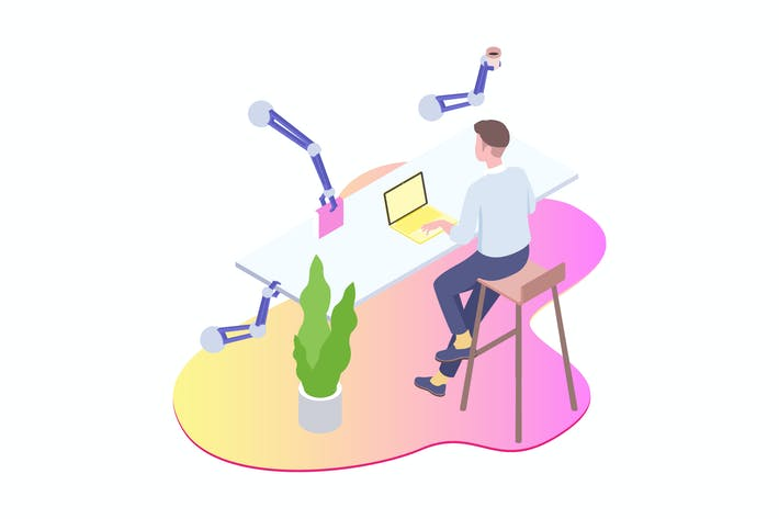 Thumbnail for Smart Robot Workspace Isometric Illustration