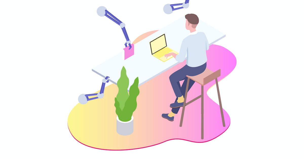 Download Smart Robot Workspace Isometric Illustration by angelbi88