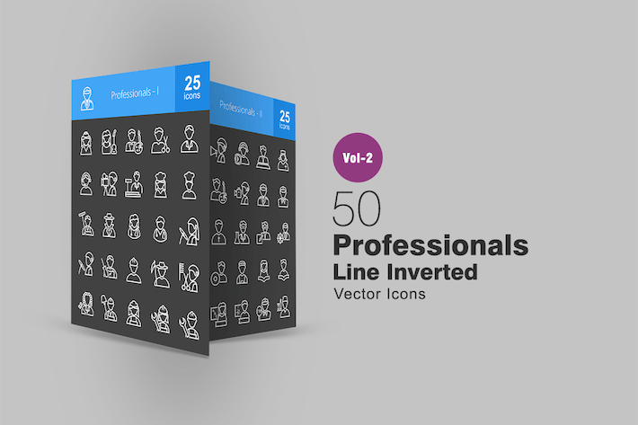 Thumbnail for 50 Professionals Line Inverted Icons