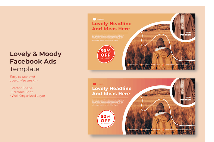 Thumbnail for Lovely & Moody Facebook Ads Template