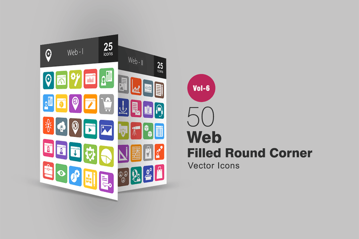 Thumbnail for 50 Web Filled Round Corner Icons