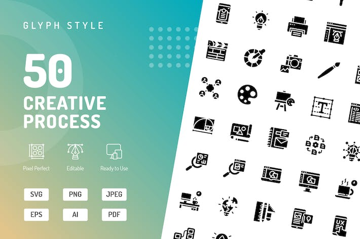 Thumbnail for Creative Process Glyph Icons