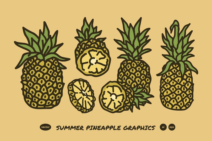 Thumbnail for Summer Pineapple Line Art Drawing