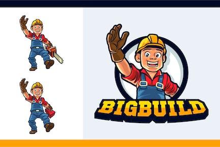 Cartoon Friendly Logger Mascot Character Logo