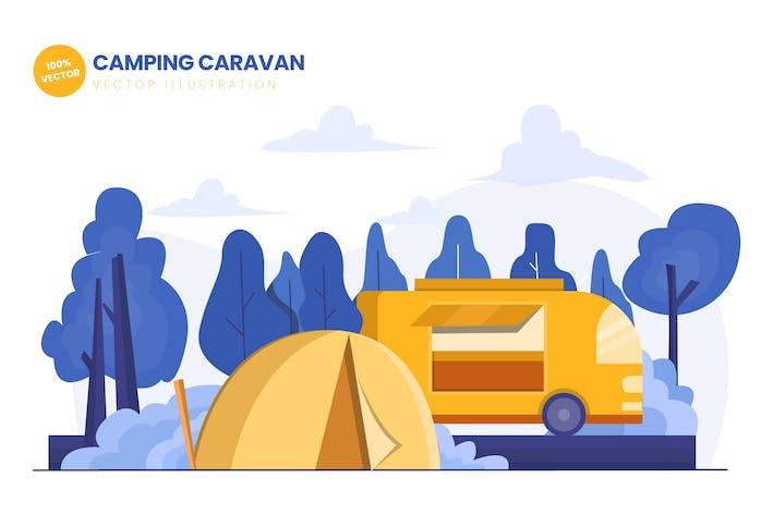 Camping Caravan Flat Vektor Illustration