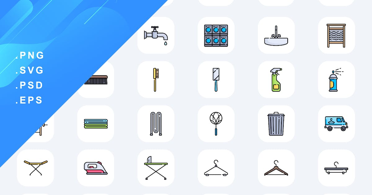Download 60 Laundry Washing Icons by Guapoo