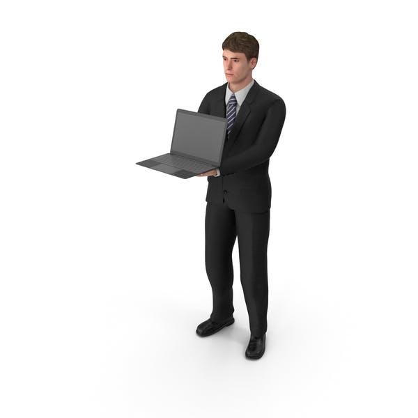Geschäftsmann John Holding Laptop