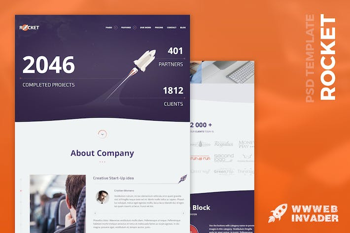 Cover Image For Rocket - Creative Multipurpose PSD Modèle