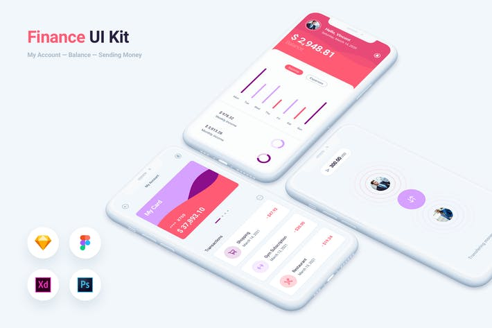 Thumbnail for Finance Bank Mobile App UI Kit-Vorlage