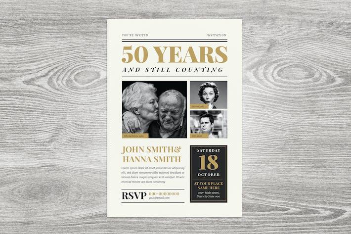 Thumbnail for Newspaper Wedding Anniversary Invitation
