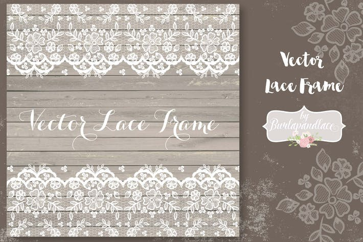 Vector lace frame wedding