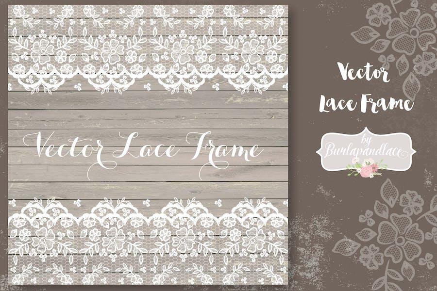 Vector lace frame wedding