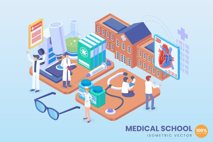 Thumbnail for Isometric Medical School Concept