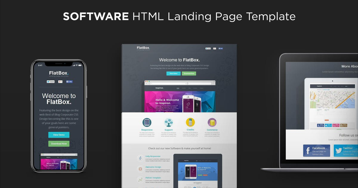 Download FlatBox - Software Landing Page Template by PixFort