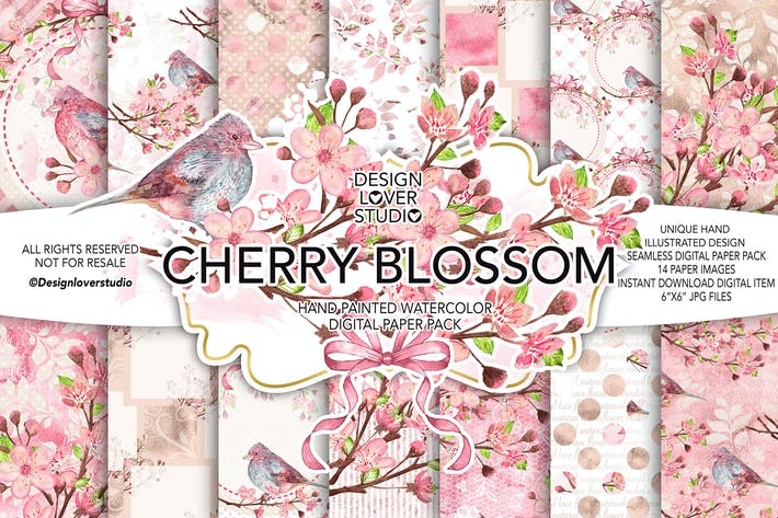Thumbnail for Watercolor CHERRY BLOSSOM digital paper pack