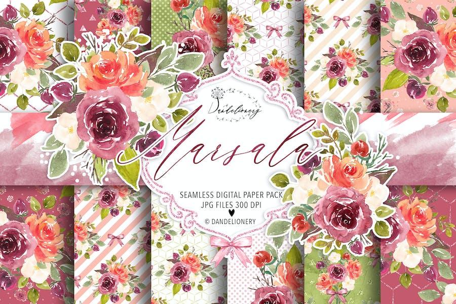 Watercolor Marsala digital paper pack