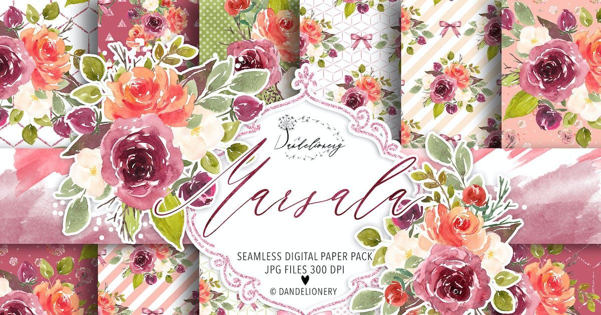 Download Watercolor Marsala digital paper pack by designloverstudio