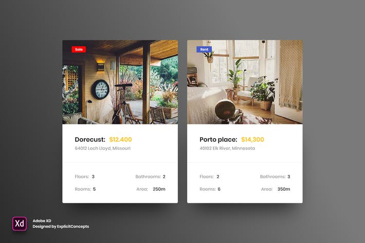 Thumbnail for Real Estate Units - Adobe XD