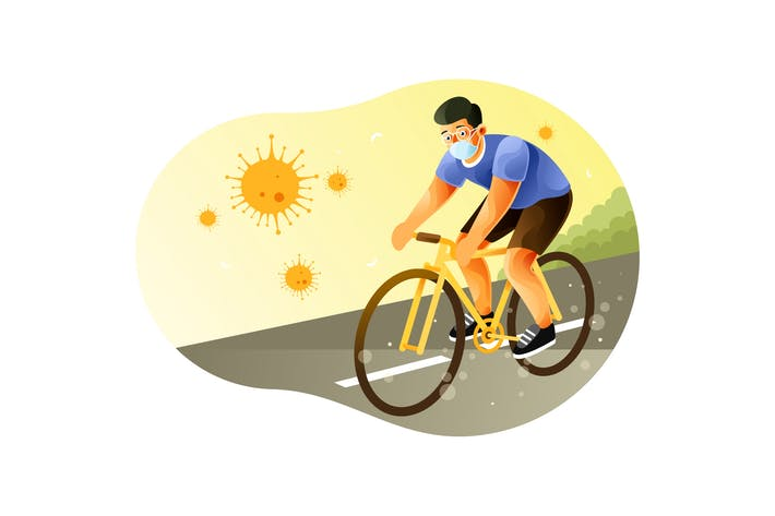Thumbnail for Riding A Bike Wearing Face Mask During Pandemic