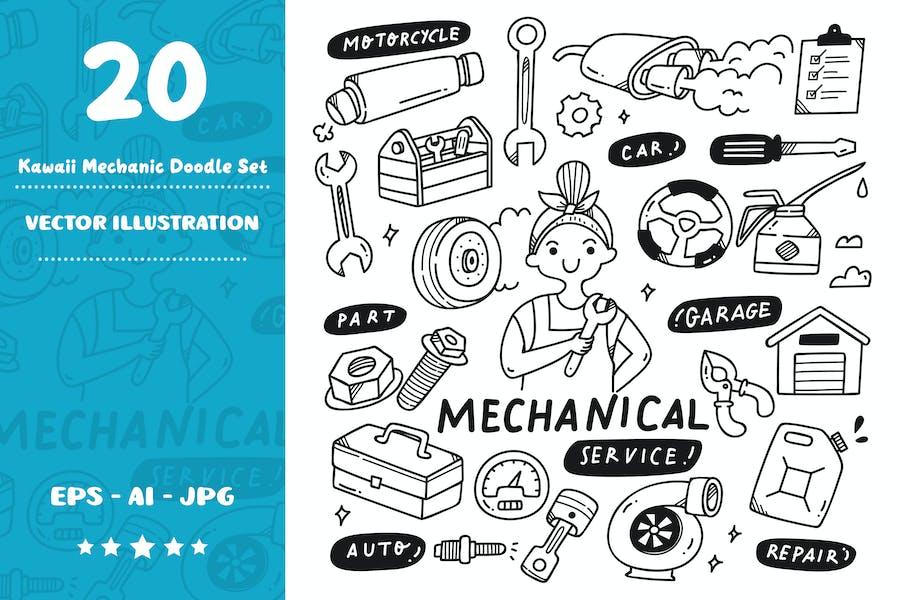Kawaii Mechanic Doodle Set
