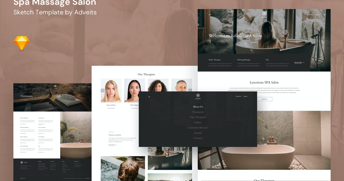 Download Relaxio - Spa Massage Salon Sketch Template by adveits
