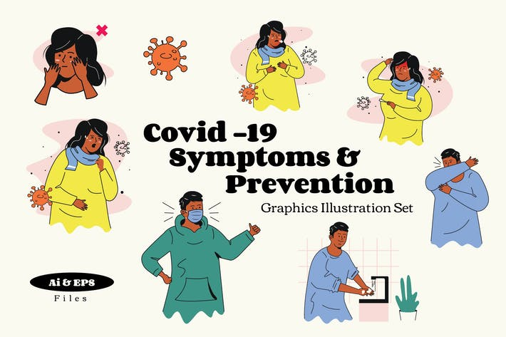 Thumbnail for Covid19 Symptoms & Prevention Graphic Illustration