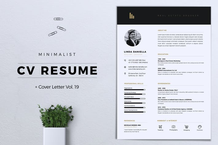 Thumbnail for Minimalist CV Resume Vol. 19