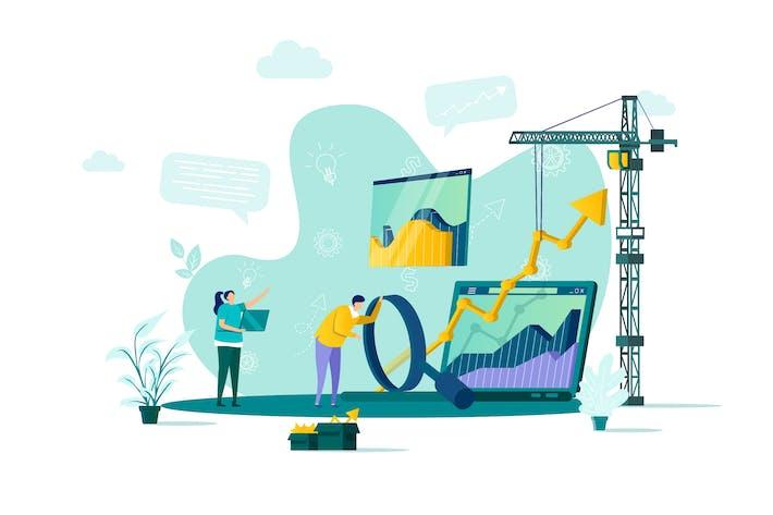 Thumbnail for Web Analytics Flat Concept Vektor illustration