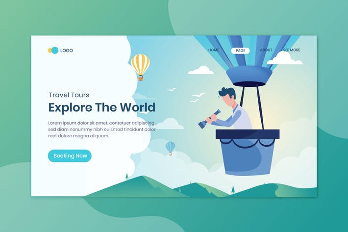 Thumbnail for Explore The World Travelling Landing Page Template