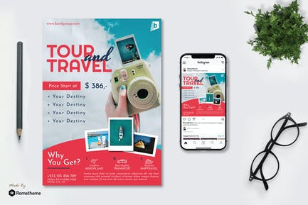 Tour And Travel - Flyer & Instagram Post GR