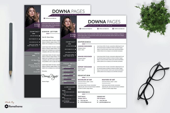Thumbnail for Downa - Clean Elegant Resume Template